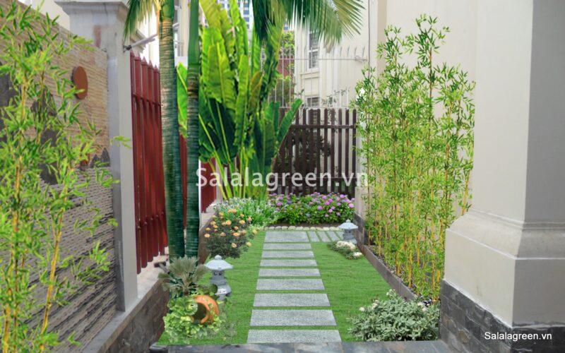 Thiết kế sân vườn biệt thự làng việt kiều châu âu